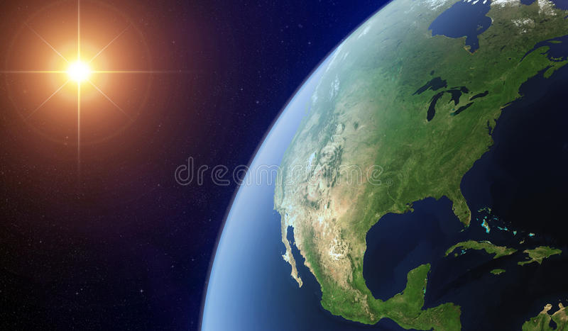 View of the North America from space. stock illustration