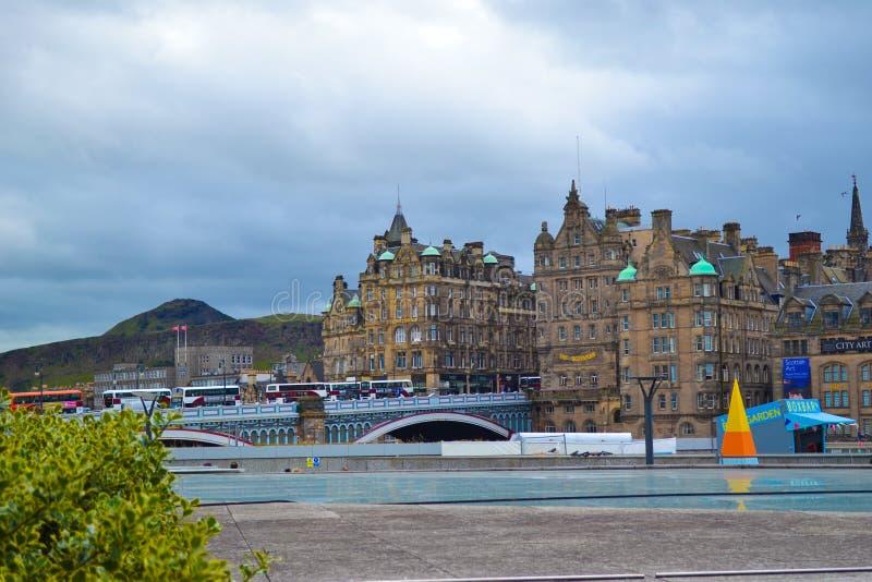 View of North Bridge from Princes Street in Edinburgh, Scotland stock photography