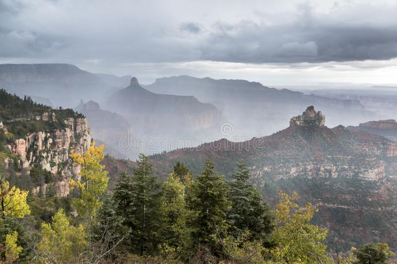 View from North Rim of Grand Canyon. On a Stormy Day with clouds in the canyon stock images
