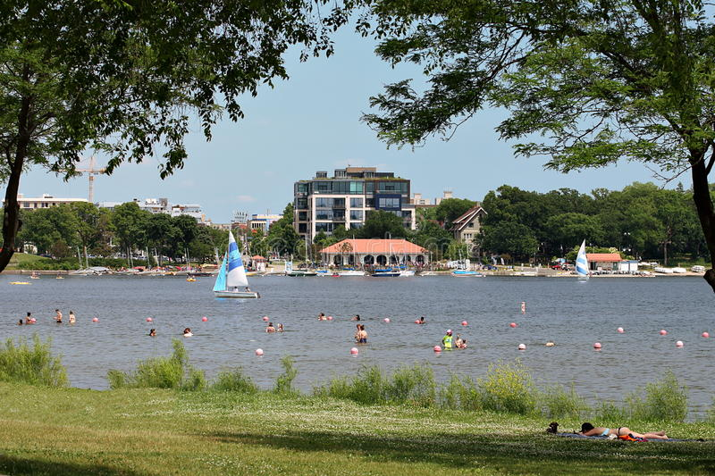 View of the North Side of Lake Calhoun stock images