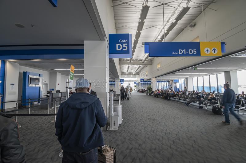 View of the North Terminal at Detroit Metropolitan Wayne County Metro Airport (DTW. Detroit, Mi, USA - April 2019: View of the North Terminal at Detroit stock photos