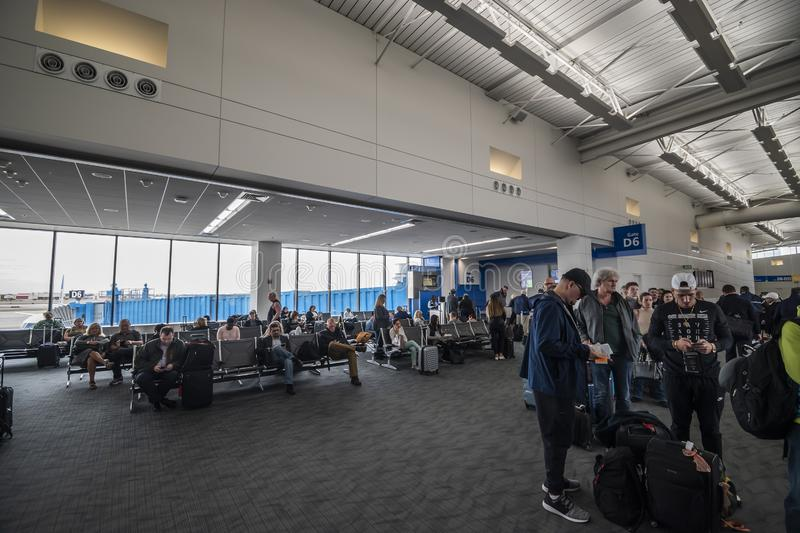 View of the North Terminal at Detroit Metropolitan Wayne County Metro Airport (DTW. Detroit, Mi, USA - April 2019: View of the North Terminal at Detroit stock images