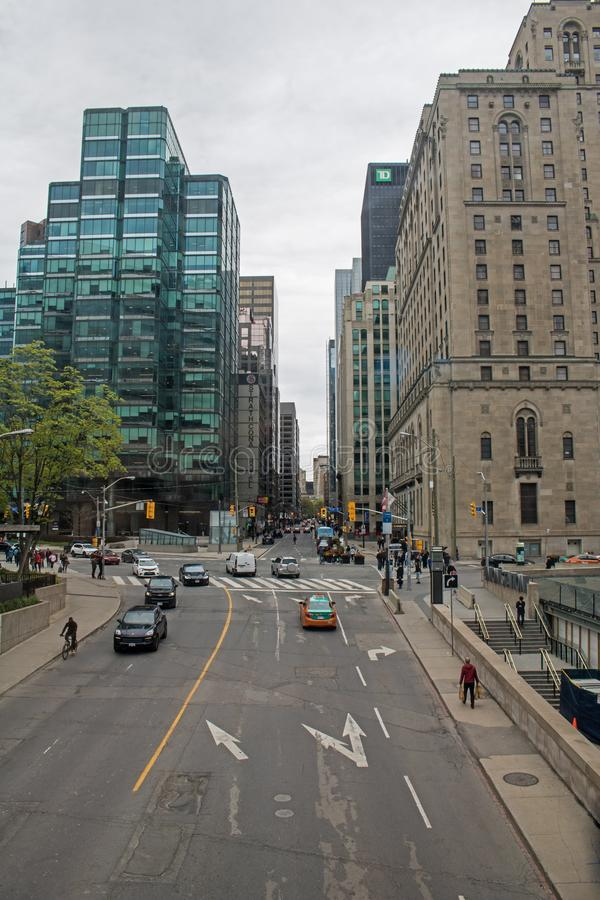 View North On Yonge Street In Downtown Toronto, Ontario, Canada. Looking north up Yonge Street at the intersection with Front Street in downtown Toronto, Ontario stock photo