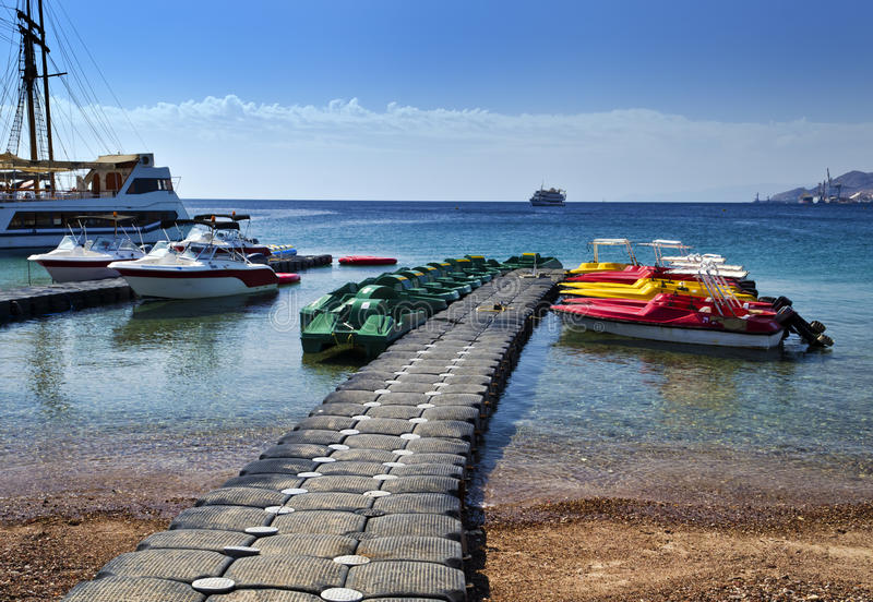 View on northern beach of Eilat, Israel. Eilat is a famous resort city in Israel, located on the Red Sea stock image