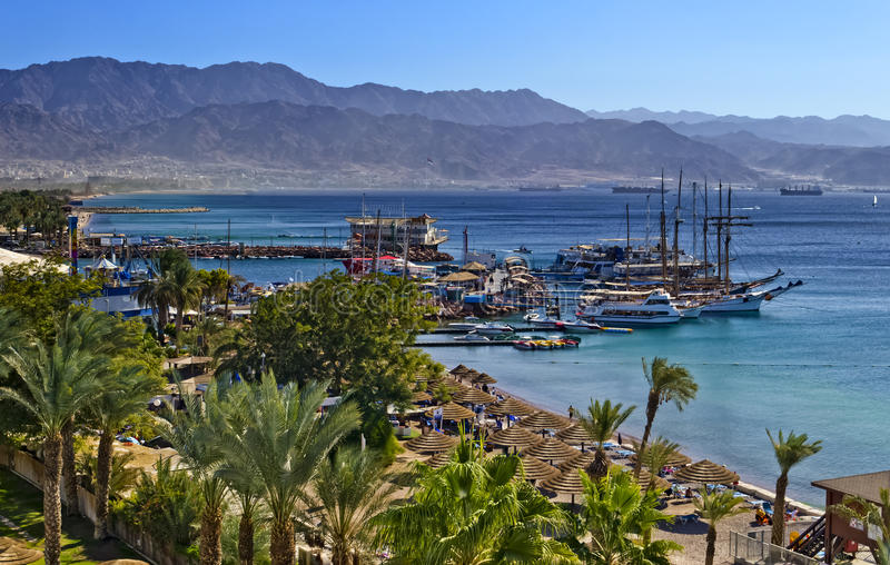 View on northern beach of Eilat, Israel. Eilat is a popular recreation and resort city in Israel stock photography