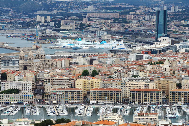 View from Notre Dame de la Garde upon old and new port, Marseille royalty free stock photography
