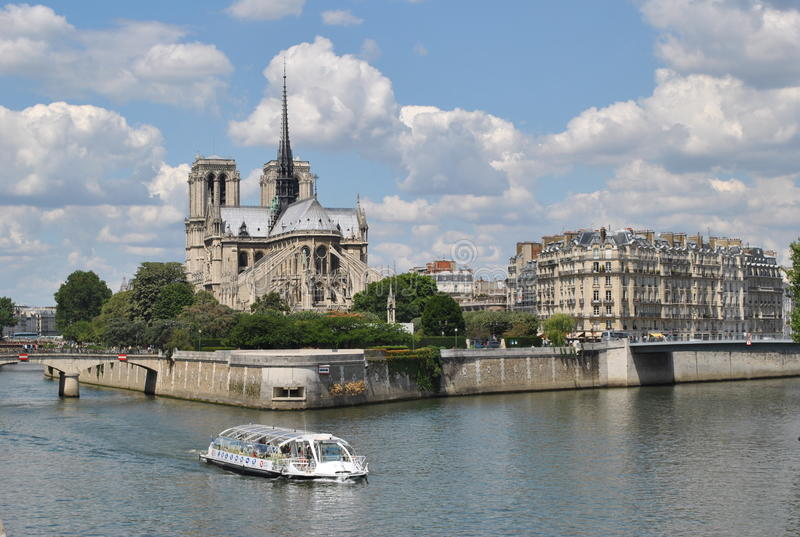 Notre-Dame in Paris. View of the Notre-Dame in Paris from the river Seine royalty free stock photography