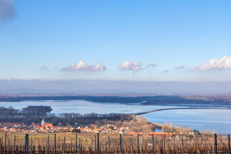 View of Nove Mlyny dam and Dolni Vestonice village stock photos