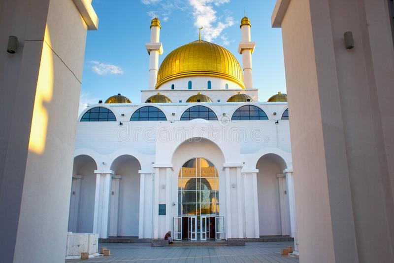 ASTANA, KAZAKHSTAN - JULY 25, 2017: View of the Nur-Astana Mosque. View of the Nur-Astana Mosque. Is a modern mosque in Astana and third largest mosque in stock image