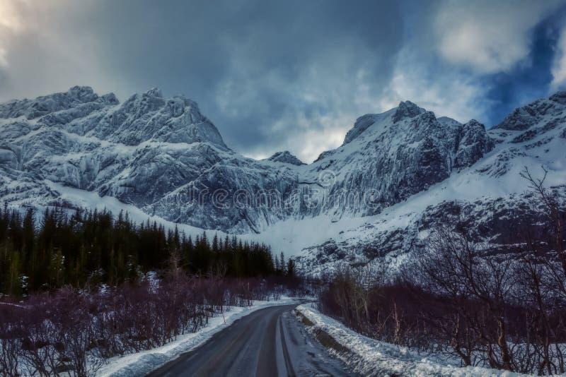 View from nusfjordveien road to bjorntinden glacier stock images