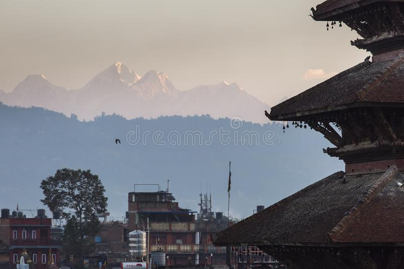 View of Nyatapola Temple in Bhaktapur, Nepal at sunrise with Him stock images