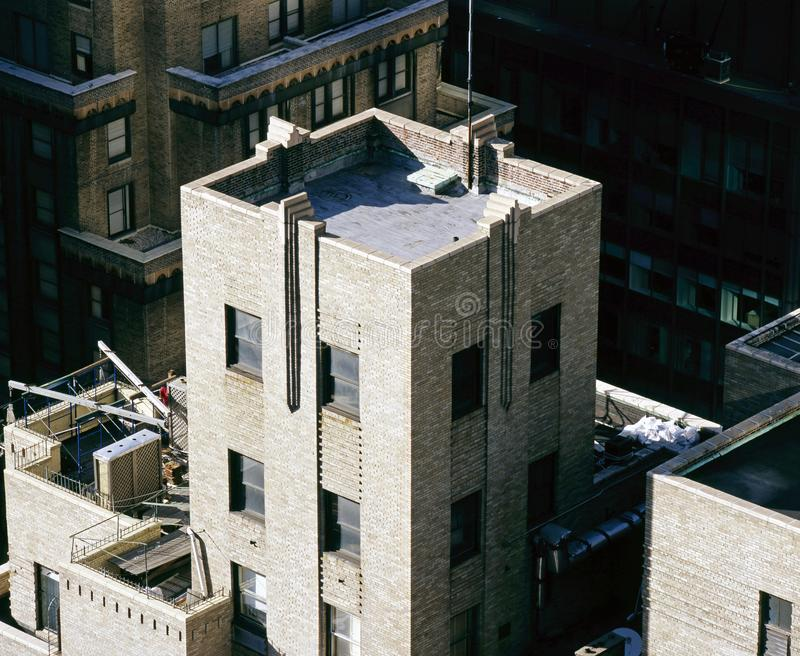 A view of NYC buildings from an high angle view stock images