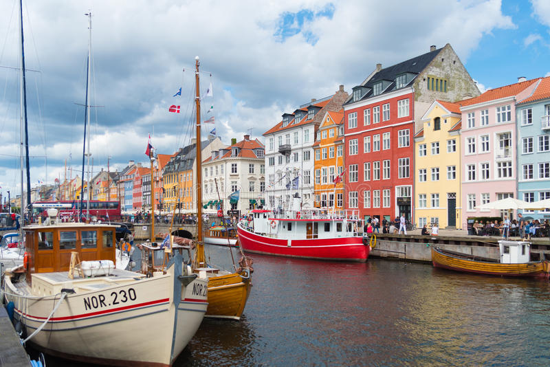 View of Nyhavn in Copenhagen, Denmark royalty free stock images