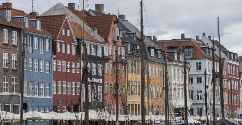View of Nyhavn quay with colored buildings stock photos