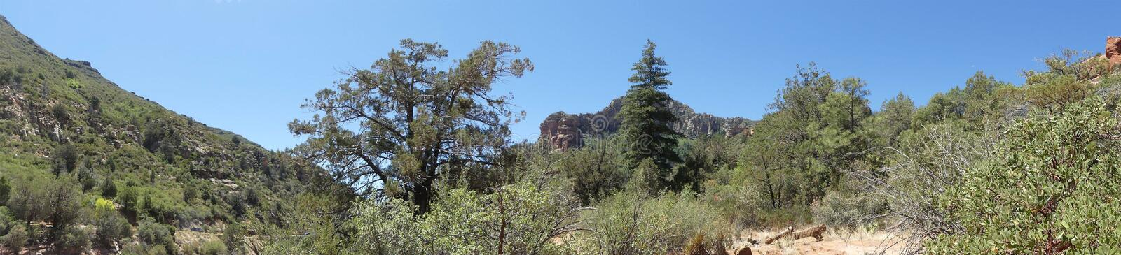 Arizona, Slide Rock Park, A view of Oak Creek Canyon from Slide Rock stock images