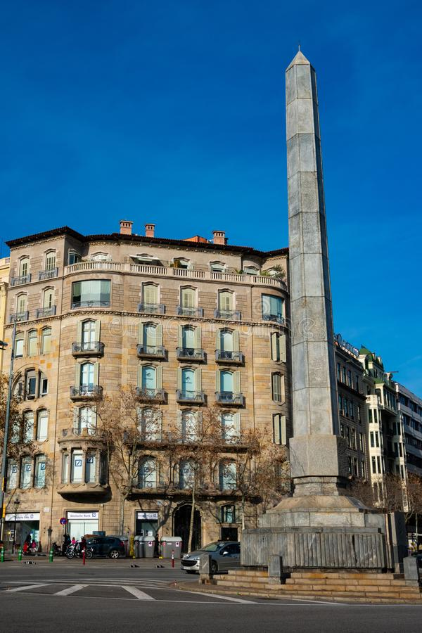 View of an obelisk at the Plaza de los Cinco Oros stock images