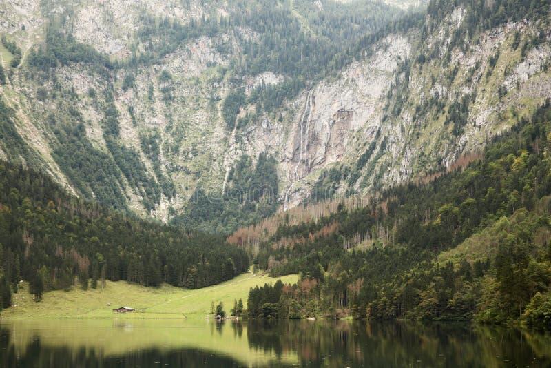 View of obersee of koenigssee near berchdesgaden stock photo