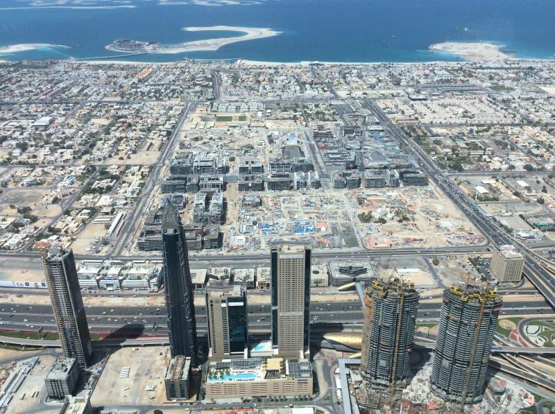 View from observation deck Burj Khalifa in Dubai, UAE stock image