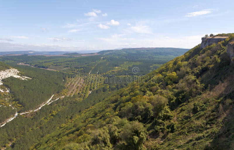 The view from the observation deck in Chufut-Kale. Bakhchisarai. Crimea stock photo