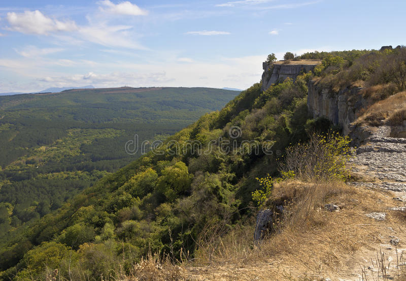 The view from the observation deck in Chufut-Kale.Not far from Bakhchisarai. Crimea stock image