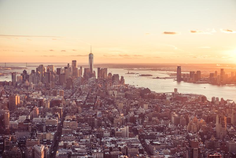 View from observation deck on Empire State Building at sunset - Lower Manhatten Downtown, New York City, USA stock photography