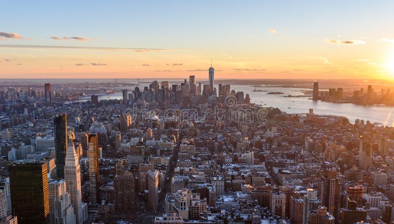 View from observation deck on Empire State Building at sunset - Lower Manhatten Downtown, New York City, USA stock images
