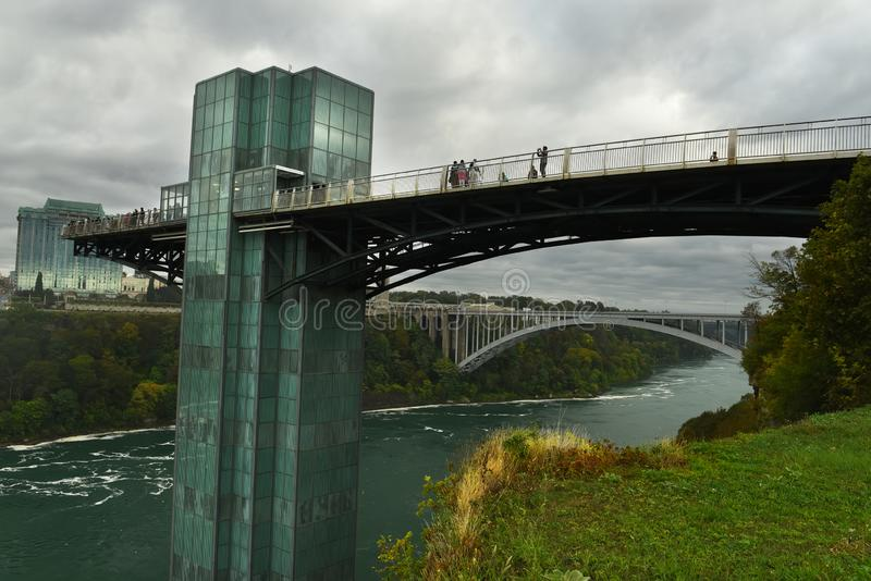 View of the observation deck at Niagara Falls. Tourists on the observation deck bridge take pictures stock images