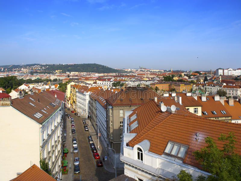 View from the observation deck on the old city, Prague, Czech Republic stock image