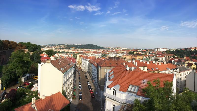View from the observation deck on the old city, Prague, Czech Republic royalty free stock image