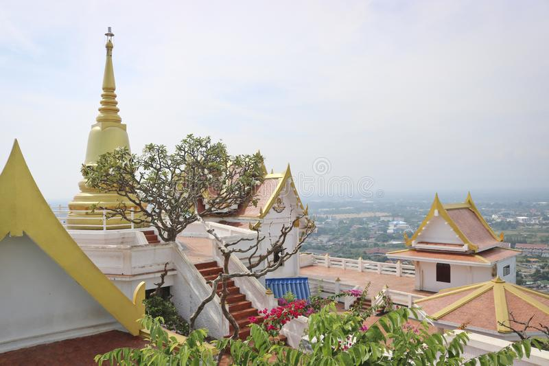 The view from the observation platform of the Buddhist monastery, the observation deck on the city Prachuap Khiri Khan in Thailand stock photo