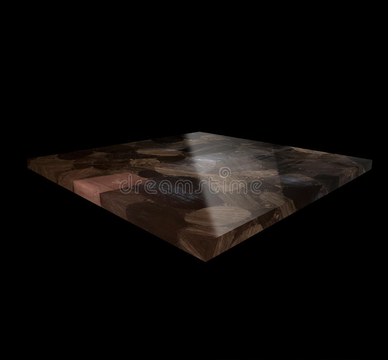 View of an Obsidian Plate on a Black Background stock photos