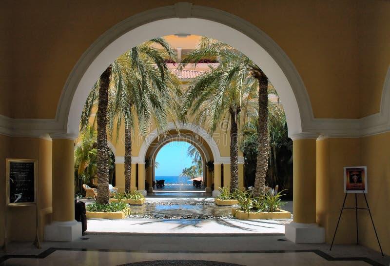 View of the ocean through the arches in Cabo San Lucas, Mexico stock photo
