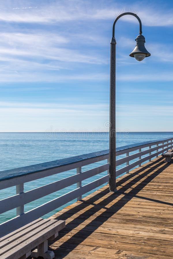 San Clemente Pier. A view of the ocean from San Clemente Pier, in California stock photo