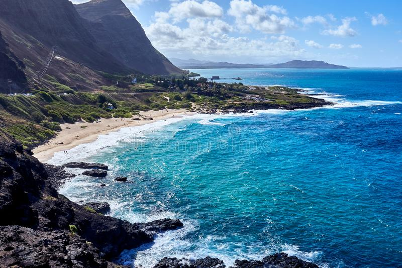 View of the ocean seen from the Makapu`u Point Lookout at Hawaii, USA stock photography