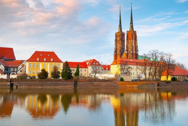 View of Oder river in Wroclaw at sunset royalty free stock photos