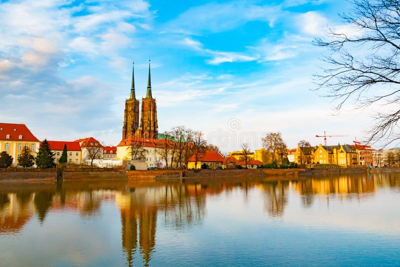 Oder river in Wroclaw stock photos