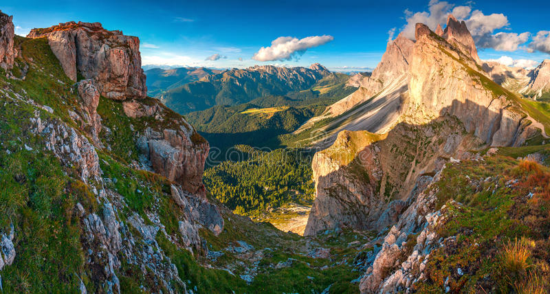 View of the Odle - Geisler group. National Park valley Val Gardena. Dolomites, South Tyrol. Location Ortisei, S. Cristina and Selva Gardena, Italy, Europe royalty free stock images