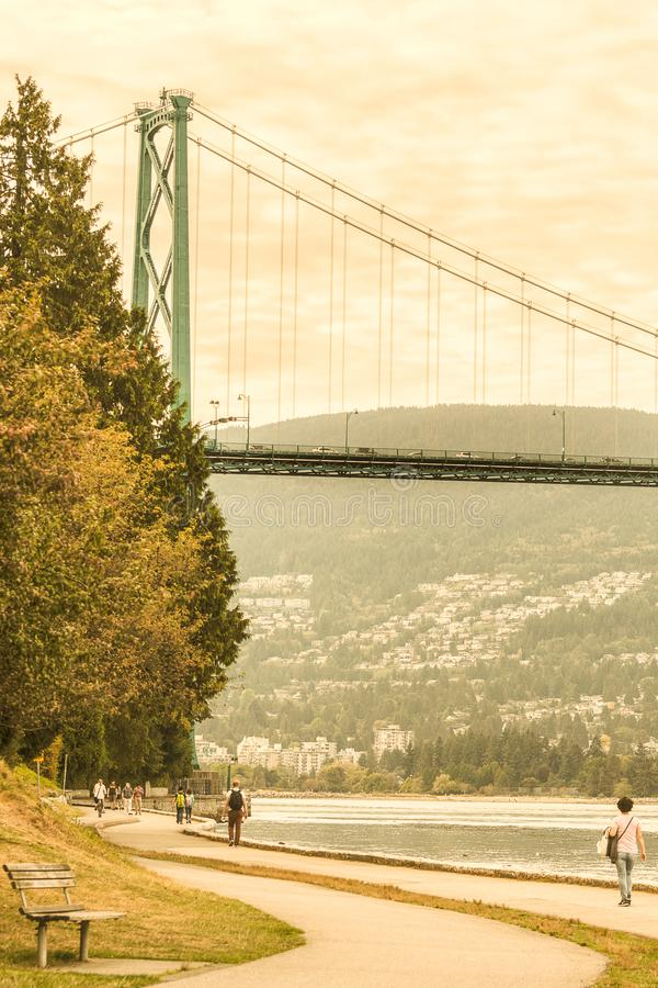 Free View Of Lions Gate Bridge From Stanley Park Stock Photos - 136709913