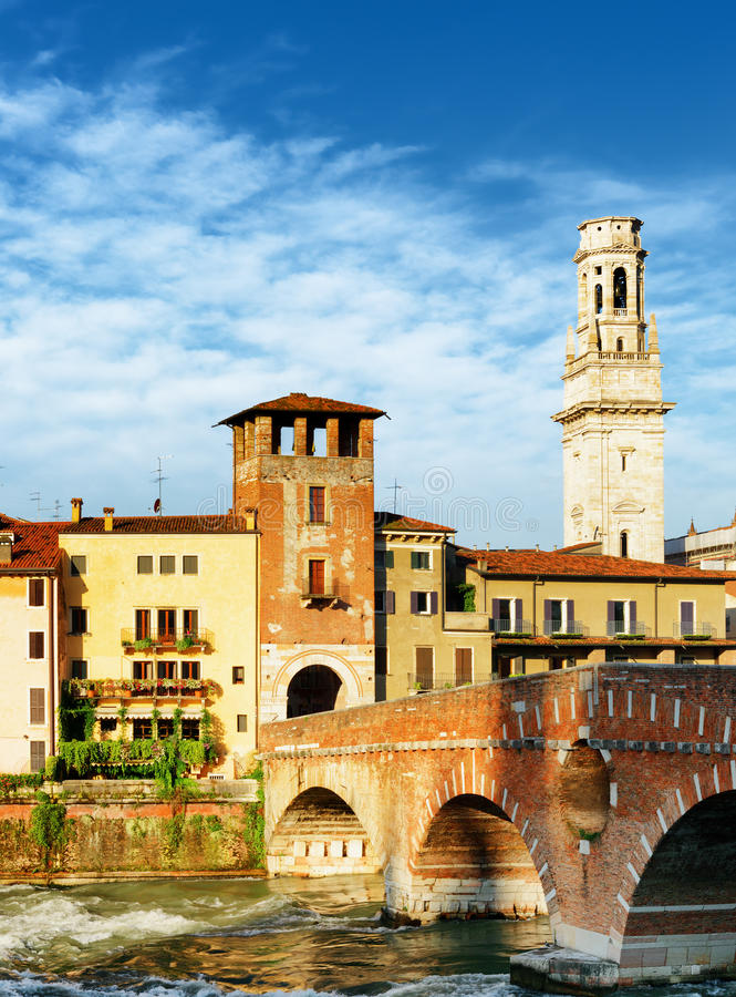 Free View Of The Ponte Pietra And Bell Tower Of The Verona Cathedral Stock Images - 58293794