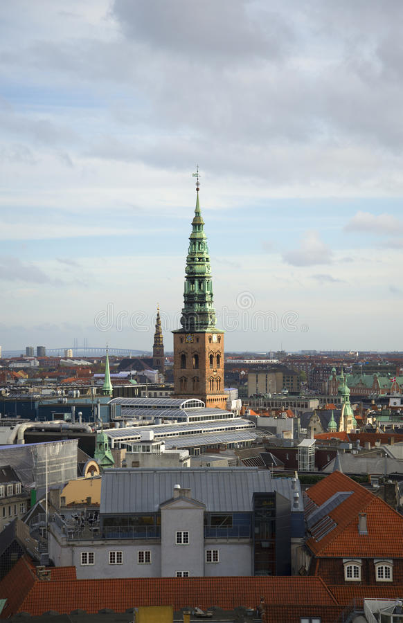 Free View Of The Spire Of The Church Of St. Nicholas. Copenhagen, Denmark Stock Images - 63019654