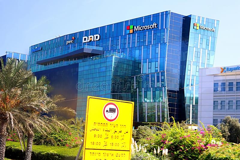 View of office building with famous logos PWC and Microsoft in Haifa MATAM high tech campus, Haifa, Israel. View of office building with famous logos PWC and royalty free stock photography