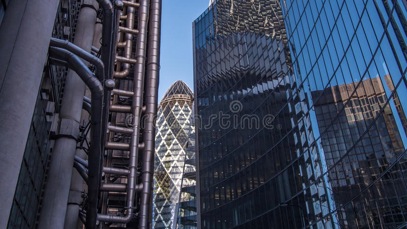 View of office buildings with reflections in the City of London. View of office buildings with metal and glass reflections in the City of London stock images
