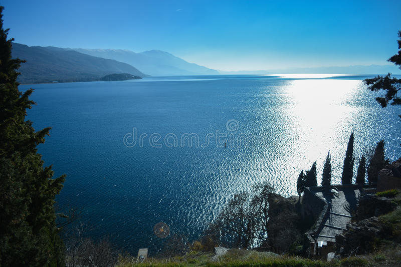 View on the Ohrid lake. The Ohrid lake is one of the oldest lakes on the European continent and the biggest on the Balkans royalty free stock photography