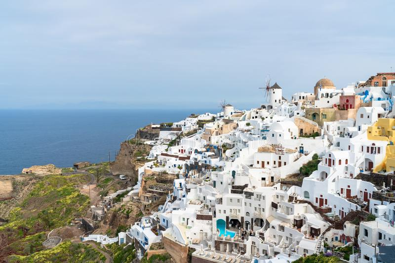 View of Oia on Greek island Santorini. royalty free stock image