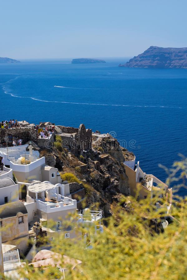 View from Oia in Santorini, Greece. Vertical view of Santorini, one of the most beauiful islands in Greece royalty free stock photography
