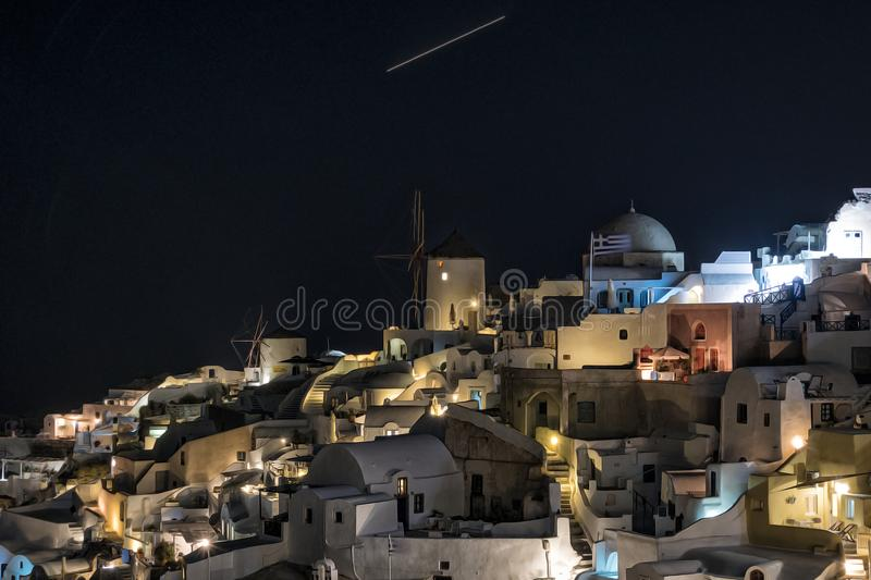 View of Oia, Santorini, at night. Greece stock images