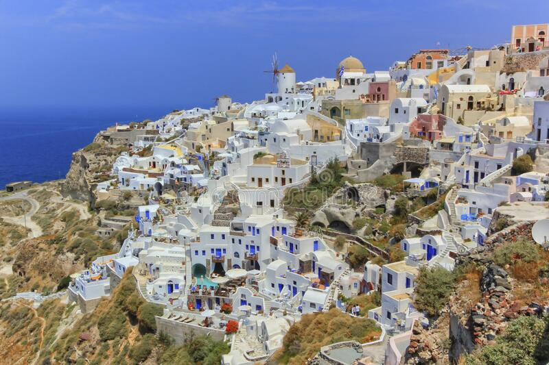 View of Oia village in the Caldera, Greece stock image