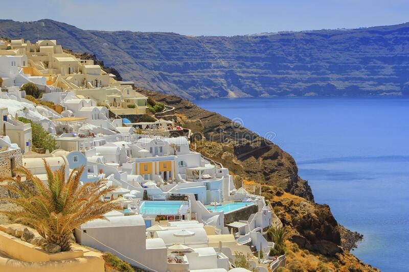 View of Oia village in the Caldera, Greece stock images