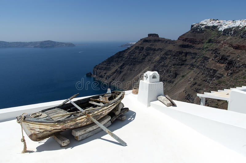 View of Oia from the white rooftops royalty free stock image