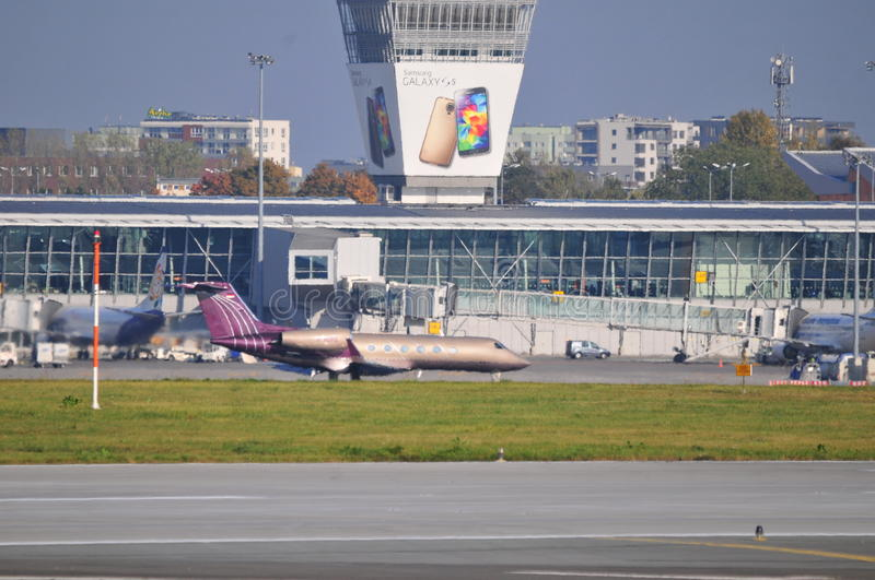 View of Okecie Airport in Warsaw royalty free stock photography